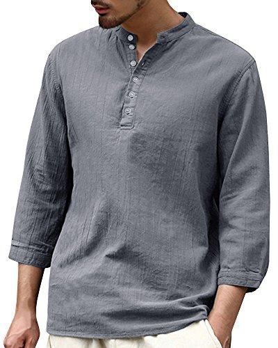 Fueri Chemise en lin pour homme, coupe cintrée, col tunisien et manches longues, style décontracté classique, pour été, plage Gris C-grigio Large