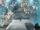 JOYIELD Murale Fond D'Écran Papier Peint IntisséPapier Peint Photo Personnalisé Mural Rétro Magnolia Peint Mur De Fleurs Mur Nordique Rétro Bleu Élégante Toile Papel De Parede, 200 * 140Cm