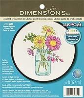 DimensionS 夏用フラワーカウントクロスステッチキット 初心者用 ホワイト 14枚 Aida 布、6インチ D