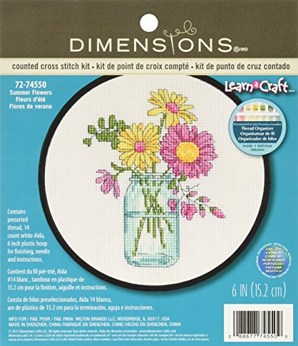 DIMENSIONS Summer Flowers Counted Cross Stitch Kit for Beginners, White 14 Count Aida Cloth, 6