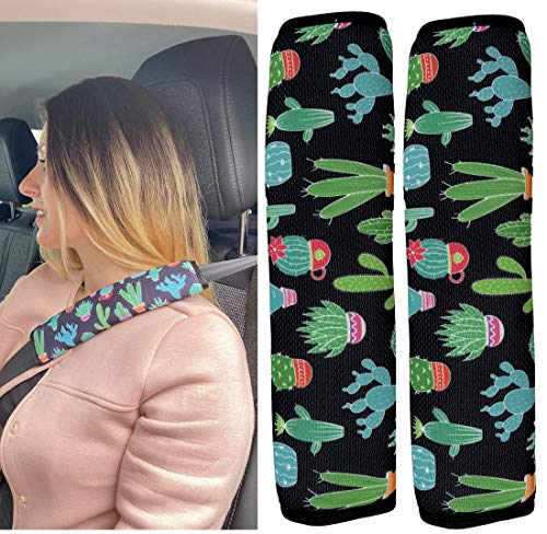 2x Auto correa Protección de cinturón de seguridad hombro hombro Cojín asientos de coche Cinturón acolchado para niños y adultos (Cactus diseño)–de heckbo