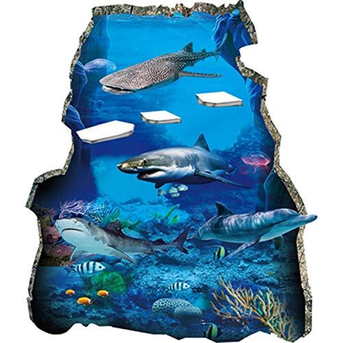 Art Deco Aufkleber 3D Kinderzimmer zerbrochene Wand Art Applique Unterwasserwelt Hai Wandtattoo Tapete Wasserdicht -, Hai-Aufkleber., 200X400cm