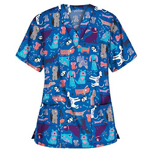 PJQQ Camisetas de lactancia para mujer, cómodas y suaves, con estampado a la moda, material de manga corta de alta calidad, cuello en V, protección total transpirable. B-azul. L