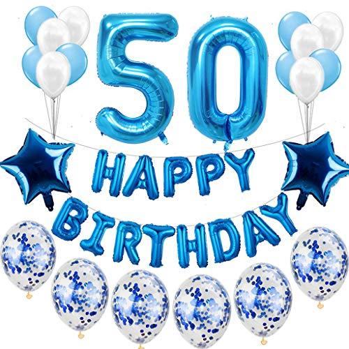Lot de 50 décorations d'anniversaire pour homme - Bleu - 50 ans - Décoration d'anniversaire - Guirlande de ballons et de confettis