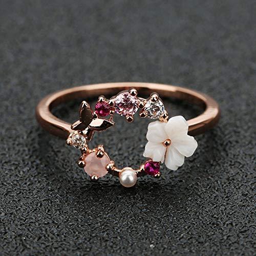 CTDMMJ Anillos de Boda de Dedo de Cristal de Flores de Mariposa para Mujer Anillo de Glamour de circón de Oro Rosa Joyería Regalo de niña Bijoux-8_Oro Rosa