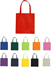 (Set of 100) ) Assorted Color Budget Non-Woven Shopper Tote Bags, Reusable Promo Bags, Bright Color Bags (100, Red)