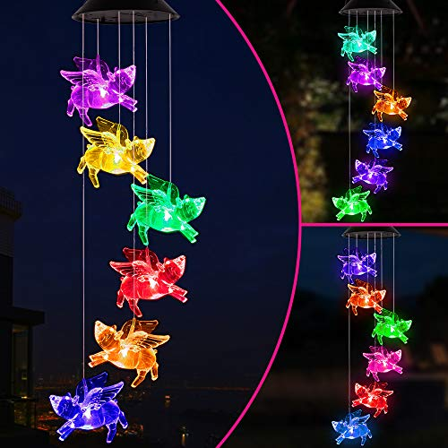 Color Changing LED Pigs Fly Wind Chimes Gift Portable Waterproof Mobile Romantic Fly Pigs Windchime, LED Solar Pig Wind Chime Lights Gift for Mom, Festival, Patio, Garden, Outdoor Decor(Black lid)