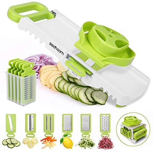 Sedhoom 6 in 1 Gemüsehobel verstellbar, Mandoline Gemüsereibe mit 6 Klingen,...