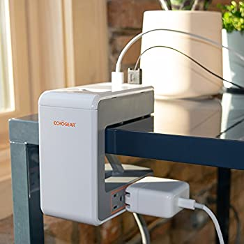 ECHOGEAR Desk Clamp Power Station with 1080J of Surge Protection - U Shaped Power Strip with 6 AC Outlets 2 Standard USBs 1 USB-C Port – Includes Long 6ft Cord & Switch for Manual Power Control