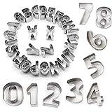 STARUBY 34er Set Ausstechformen Buchstaben Zahlen Fondant Ausstecher Weihnachtsausstechformen Set aus Edelstahl - Plätzchen Ausstecher Weihnachten für Motivtorten Tortendeko Backen