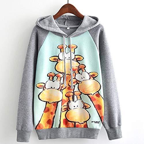 HHei_K Womens Trendy Mittelmeer Catpuccino Cat Print Mittelmeer Giraffe Print Long Sleeve Drawstring Hoodies Sweatshirt