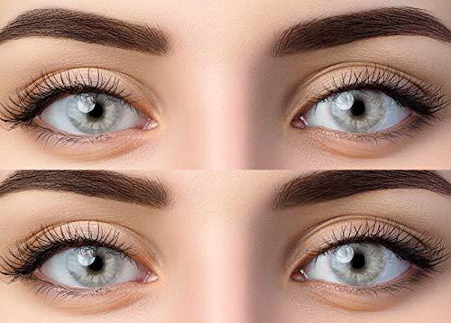 Farbige Graue Kontaktlinsen 'Gray' Ohne Stärke Grau + Behälter von Glamlens, weiche 3-Monatslinsen im 2er Pack