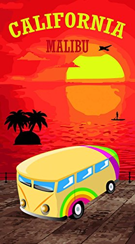 Asditex Toalla Playa Microfibra Estampada - 100 x 180 cm - Furgoneta California