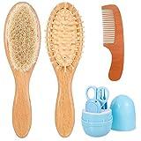 atnight Baby-Haar- und Nagelpflegeset für Neugeborene, 5-in-1-Baby-Maniküre-Toolkit 3-teiliges Baby-Haarbürstenset aus Holz Ziegenborstenbürste Haarkamm Massagebürste Pflegezubehör