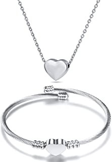 NIBASTAR Heart Jewelry Set Stainless Steel Necklace...