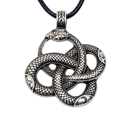 Paw Paw House Knotwork Ouroboros Amulet Necklace Norse Viking Snake Runes Nordic Talisman Pagan Wicca Spiritual Jewelry Men (Antique Silver 4108)