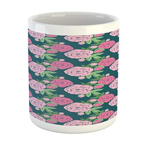 N\A Taza Floral, ilustración de Rosas florecientes románticas con Hojas de Tono Verde Pistacho, Taza de café de cerámica para Bebidas de té de Agua, 11 oz, Verde Azulado Oscuro y Rosa