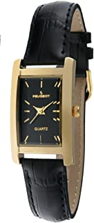 Women's Classy 14K Gold Plated H Rectangle Case Black Leather Band Dress Watch 3007BK