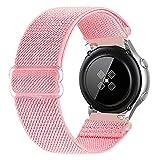 RockloookY Cinturino elastico da 20mm compatibile con Galaxy Watch Active/Active2 40mm 44mm/Galaxy Watch 3 41mm/Gear Sport, cinturino di ricambio in nylon morbido per donna uomo (rosa)