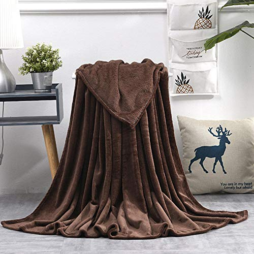 YCW Flannel Fleecethrow Blankets,Soft Coral Fleece Blanket, Flannel Plush Throw Blankets, On Sofa Bed Travel Light Thin Solid Color Bedspread-A05_100X140Cm