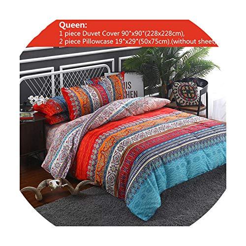 sensitives Luxury Bohemian Ethnic Style Bedding Set Twin Full Queen King 4 Size Duvet Cover Pillowcase Set,Blue,Queen