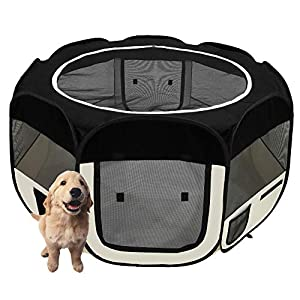 afuLaI 45″ Portable Foldable Pet Playpen Exercise Pen Kennel with Carrying Case for Dog Cat Rabbit Hamster Indoor/Outdoor Use (Dogplaypen-Black45in)