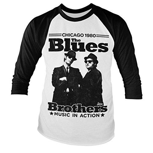 Oficialmente Licenciado Azuls Brothers - Chicago 1980 Baseball Manga Larga Camiseta (Blanco/Negro), Large