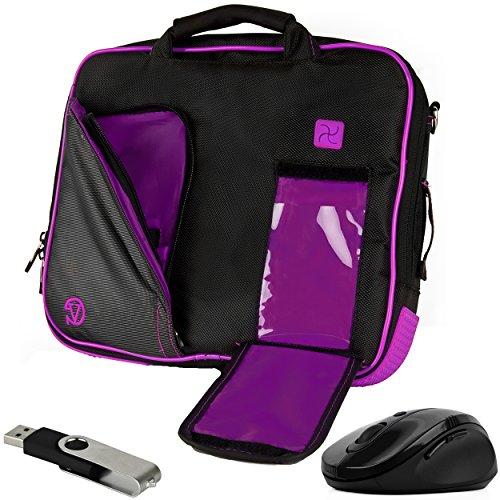 VanGoddy Plum Purple Messenger Bag w/USB Flash Drive and Mouse for Lenovo Flex 4 1130 / Yoga 710 / IdeaPad 110s 120s / Tab4 10 Plus/ThinkPad X1 Tablet / N23 ChromeBook / 11.6inch