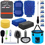 AUTODECO 22Pcs Car Wash Cleaning Tools Kit Car Detailing Set with Grey Canvas Bag Collapsible Bucket Wash Mitt Sponge Towels Tire Brush Window Scraper Duster Complete Interior Car Care Kit