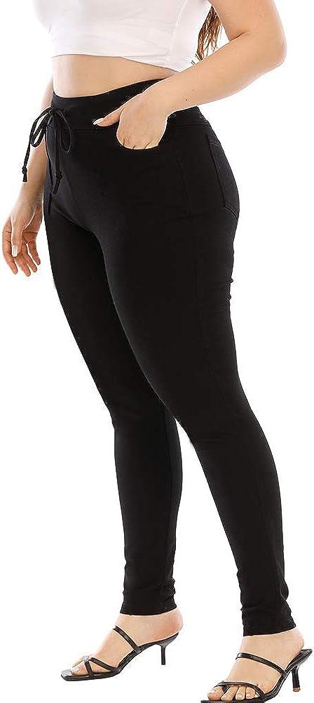 ALLEGRACE Women Casual Comfy Drawstring Elastic Waist Elegant Work Pants with Pockets