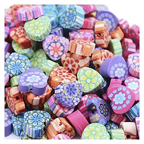 YINCHIE Las Piedras Preciosas Sueltas 30/50 / 100pcs Bloom Polymer Clay Beads Lindo Amor Heart Flower Flower Impresión Espaciador Granos para la joyería Haciendo Pulsera Pendiente XAN903