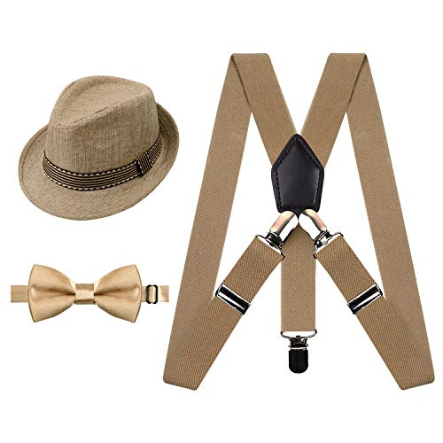 Alizeal 1 inch Suspender and Bow Tie Set with Matched Hat for Kids (Khaki)
