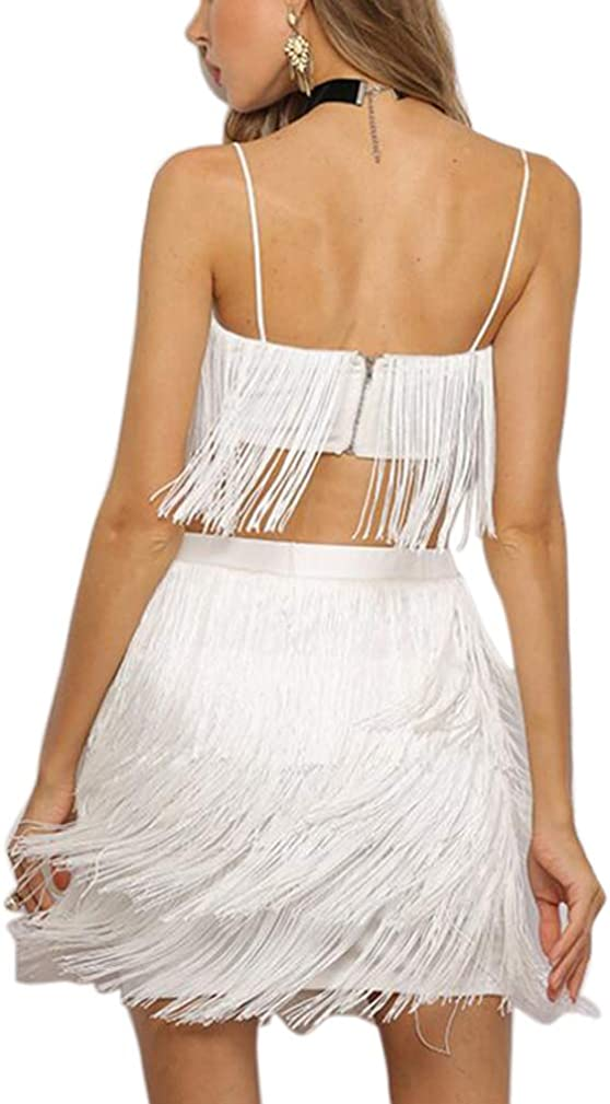 Engood Womens Sexy Two-Piece Dress Set High Waist Fringe Strap Crop Top Midi Skirt Suit Black L