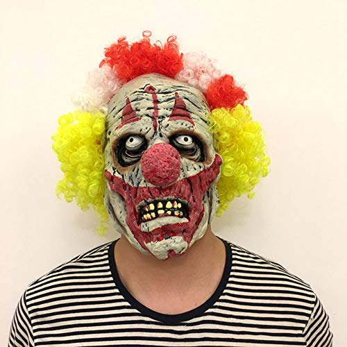 Halloween Horror Clown Requisiten Farbe Multicolor Haar Clown Latex Kopfbedeckung Dress Up Scary Mask