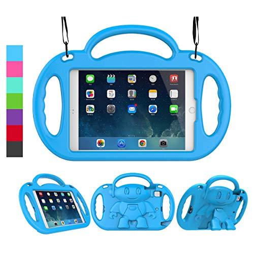 LEDNICEKER Kids Case for iPad Mini 1 2 3 4 5 - Light Weight Shockproof Handle Friendly Kids Case with Built-in Kickstand & Shoulder Strap for iPad Mini, Mini 5 (2019), Mini 4, Mini 3, Mini 2 - Blue