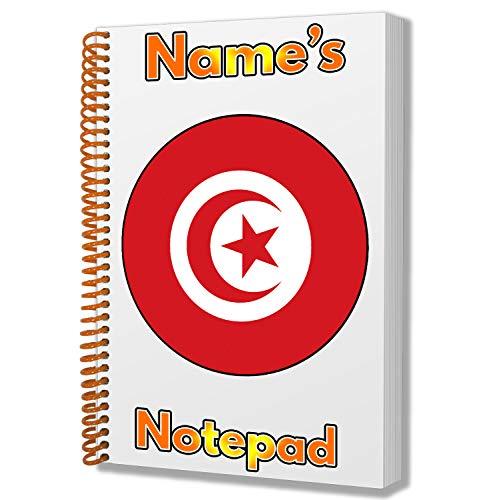 Gepersonaliseerd geschenk - Tunesië Vlag A5 Kladblok/notitieboekje - Cadeau - Verjaardag - Kerstmis - Kachelvuller - Geheime Kerstman - ADD Elke naam