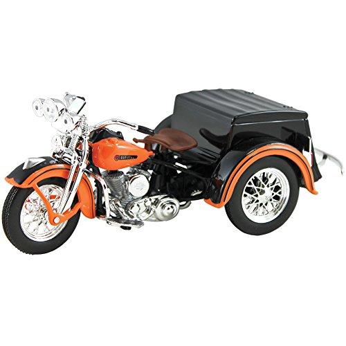 Maisto 3179 1947 Harley Davidson Servi-Car Black with Orange HD Custom Motorcycle Model 1/18 Diecast Model