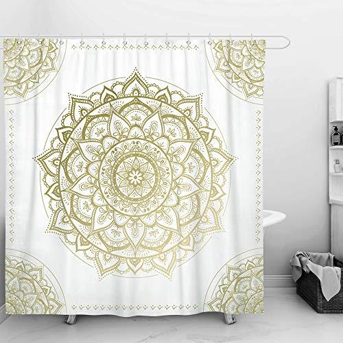 SUMGAR Mandala Art Duschvorhang Gold und Beige Blumenmuster Badvorhänge Indische Boho Blumen Geometrische Moderne Badvorhänge Polyester Wasserdicht mit 12 weißen Vorhangringen, 180x180cm