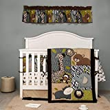 Forest Animal Nursery Crib Bedding Set Grey Brown Forest Giraffe Elephant Hippo Bear Nursery Baby Boy Bedding Set(9 PC)