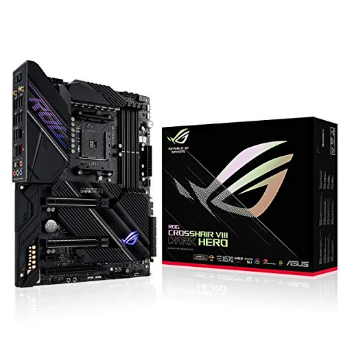 ASUS ROG Crosshair VIII Dark Hero Carte mère Gaming AMD X570 ATX avec PCIe 4.0, 16 Phases d'alimentation, OptiMem III, Wi-FI 6 (802.11ax), LAN 2,5 GB/s, USB 3.2, SATA, M.2, Aura Sync RGB