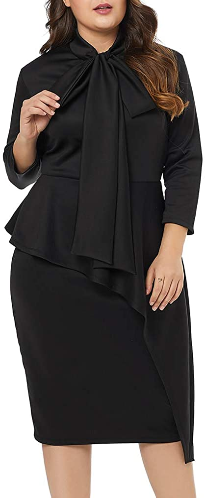 LALAGEN Women's Plus Size Long Sleeve Peplum Tie Neck Bodycon Pencil Midi Dress