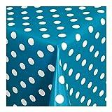 Wachstuch Tischdecke Wachstischdecke Gartentischdecke, Abwaschbar Meterware, Länge wählbar, Punkte Blau Weiß (150-09) 100cm x 140cm