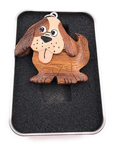 Onwomania Llavero de madera perro con orejas de disquete mascota perro de cuatro patas macho familia...