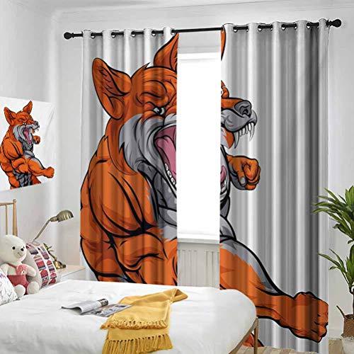 Fox 90% cortinas opacas totalmente opacas y aislamiento térmico de las cortinas musculares fierce zorro personaje intenso deporte animal mascota punzonado monstruo se puede...