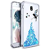 PHEZEN Galaxy J3 Pro 2017 Case,Fairy Angel Girl Pattern Shiny Bling Glitter Diamond Sparkle Luxury Crystal Rhinestone Soft TPU Silicone Rubber Bumper Case Cover for Samsung Galaxy J3 Pro 2017 (Blue)
