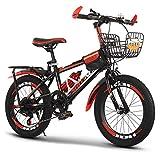 GZMUK Bicicleta De Montaña para Niños De 18/20/22/24 Pulgadas Marco De Acero De Alto Carbono Adecuado,Asiento Regulable,Rojo,24 in