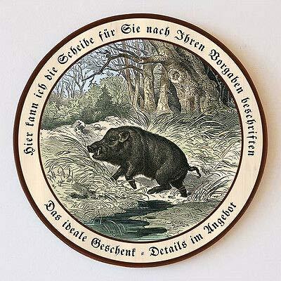 Keiler im Wald Wildschwein Jagdwild Flucht Schützenscheibe 55cm Wunschtext 109