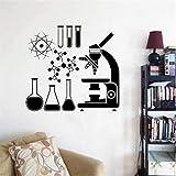 Microscopio científico vinilo pared pegatina Mural químico calcomanía laboratorio decoración pared Mural decoración habitación de niños aula 42X46Cm