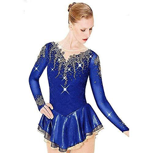 HYQW Eiskunstlauf Kleid Mädchen Frauen Pink Blau, Handgemachte Figur Professionelle Wettbewerb Kostüm Auf Bestellung Langarm Kleid Shiny Diamond,Blue-Child8