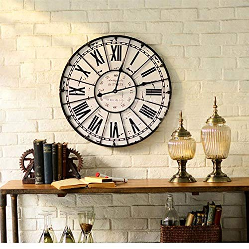 Luanchengnuanxing Antike Eisen römische Digitale Wohnzimmer Stummschaltuhr kreative Retro-Uhren, weiße Nostalgie Uhr Nudeln, Zeigen die Kunst.Durchmesser 60 cm. Schön
